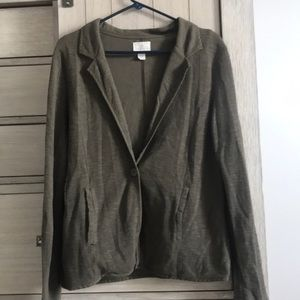 Caslon Olive Tarmac One Button Knit Blazer Sz L
